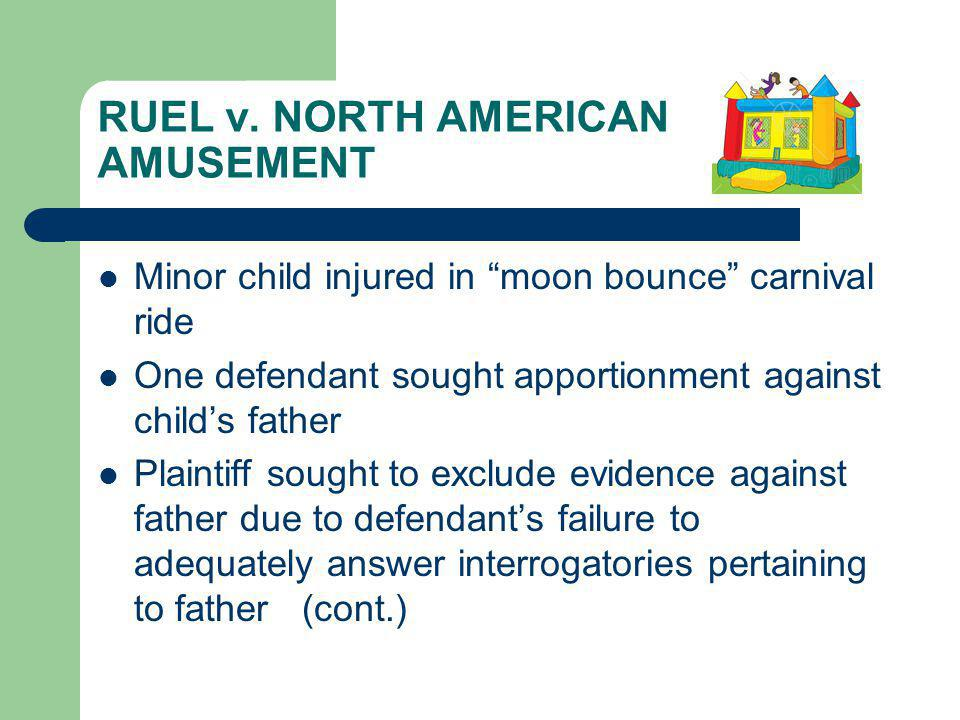 RUEL v. NORTH AMERICAN AMUSEMENT Minor child injured in moon bounce carnival ride One defendant sought apportionment against childs father Plaintiff s