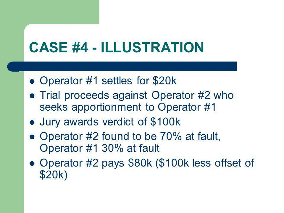 CASE #4 - ILLUSTRATION Operator #1 settles for $20k Trial proceeds against Operator #2 who seeks apportionment to Operator #1 Jury awards verdict of $
