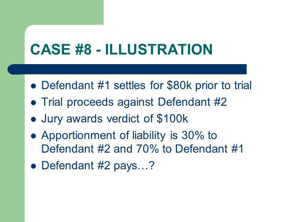 CASE #8 - ILLUSTRATION Defendant #1 settles for $80k prior to trial Trial proceeds against Defendant #2 Jury awards verdict of $100k Apportionment of