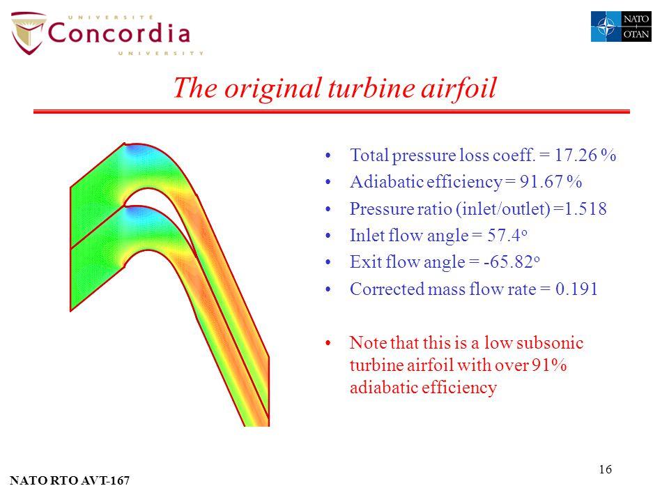 NATO RTO AVT-167 16 The original turbine airfoil Total pressure loss coeff. = 17.26 % Adiabatic efficiency = 91.67 % Pressure ratio (inlet/outlet) =1.