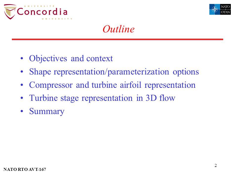 NATO RTO AVT-167 2 Outline Objectives and context Shape representation/parameterization options Compressor and turbine airfoil representation Turbine