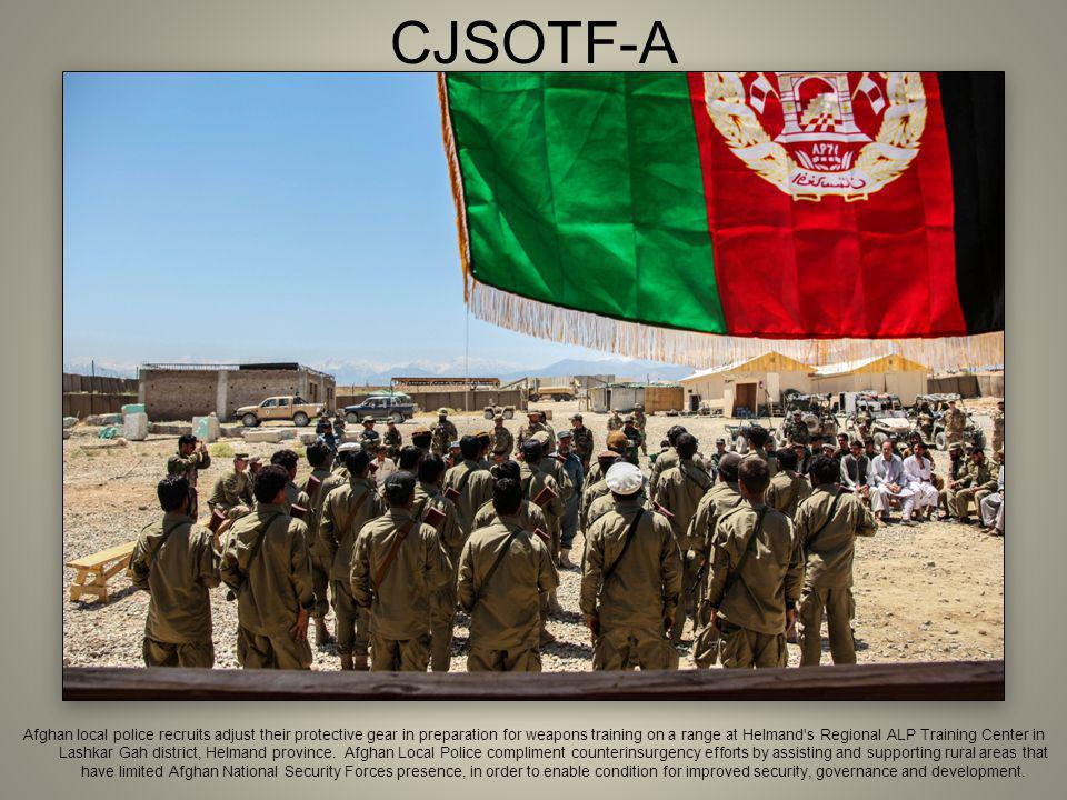 CJSOTF-A Afghan local police recruits adjust their protective gear in preparation for weapons training on a range at Helmand's Regional ALP Training C