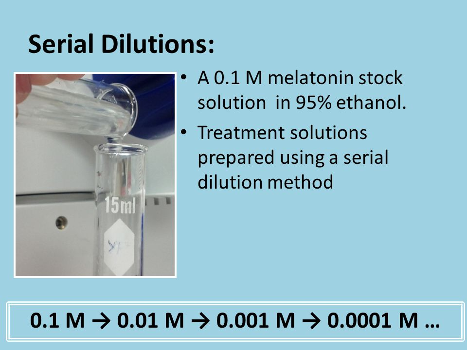 Serial Dilutions: A 0.1 M melatonin stock solution in 95% ethanol. Treatment solutions prepared using a serial dilution method 0.1 M 0.01 M 0.001 M 0.