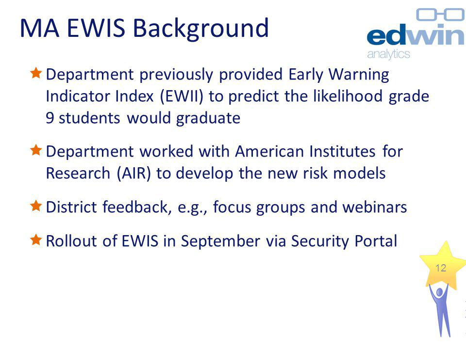 MA EWIS Background Department previously provided Early Warning Indicator Index (EWII) to predict the likelihood grade 9 students would graduate Depar