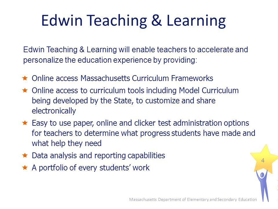 Edwin Teaching & Learning Online access Massachusetts Curriculum Frameworks Online access to curriculum tools including Model Curriculum being develop