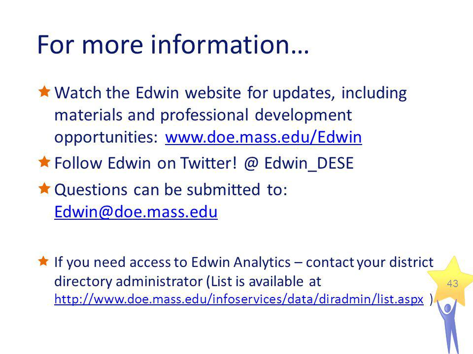 43 For more information… Watch the Edwin website for updates, including materials and professional development opportunities: www.doe.mass.edu/Edwinww