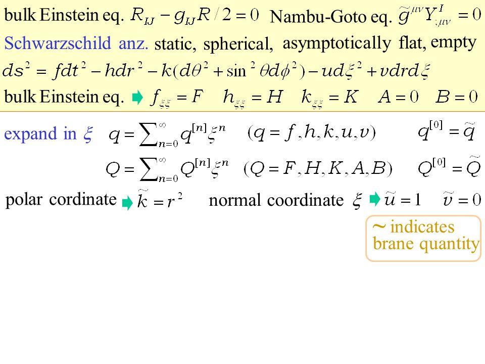 expand in normal coordinate polar cordinate static, spherical, Schwarzschild anz. asymptotically flat, empty Nambu-Goto eq. bulk Einstein eq. ~ indica