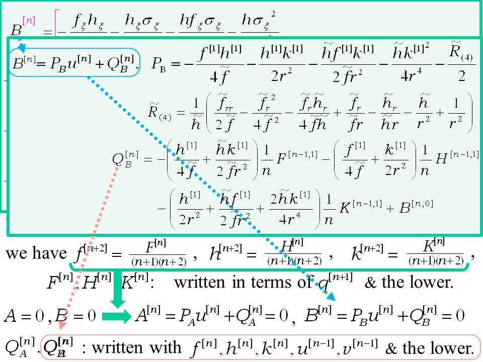 , Equating the n terms in : written in terms of & the lower.,,,,, we have expand in normal coordinate polar cordinate static, spherical, Schwarzschild