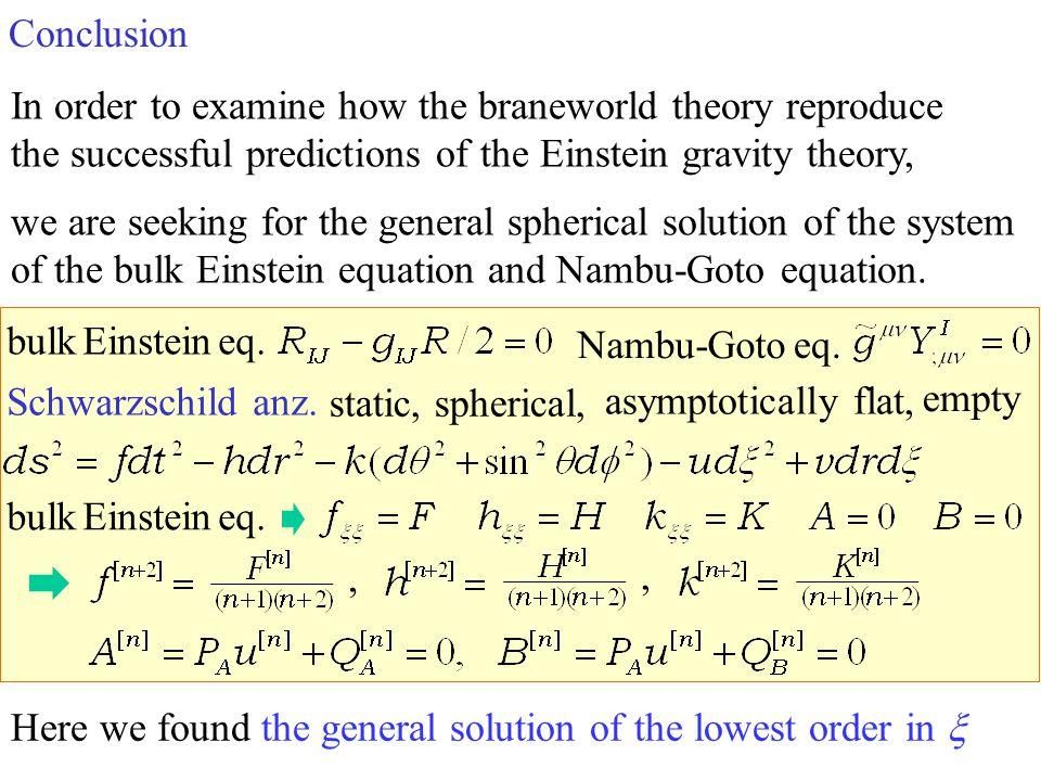static, spherical, Schwarzschild anz. asymptotically flat, empty Nambu-Goto eq. bulk Einstein eq.,, Conclusion In order to examine how the braneworld