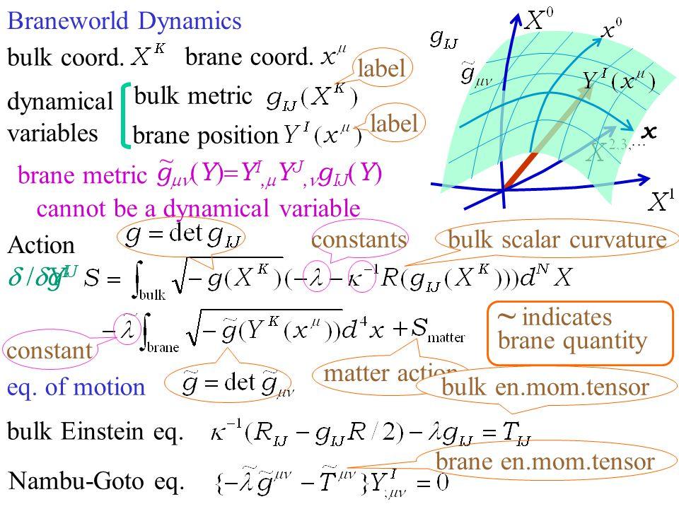 Braneworld Dynamics dynamical variables brane position bulk metric eq. of motion Action bulk scalar curvature bulk Einstein eq. Nambu-Goto eq. label c