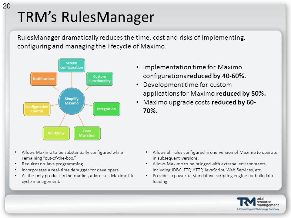 TRMs RulesManager Allows Maximo to be substantially configured while remaining out-of-the-box.