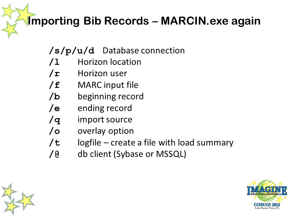 Importing Bib Records – MARCIN.exe again /s/p/u/d Database connection /l Horizon location /r Horizon user /f MARC input file /b beginning record /e ending record /q import source /o overlay option /t logfile – create a file with load summary /@ db client (Sybase or MSSQL)