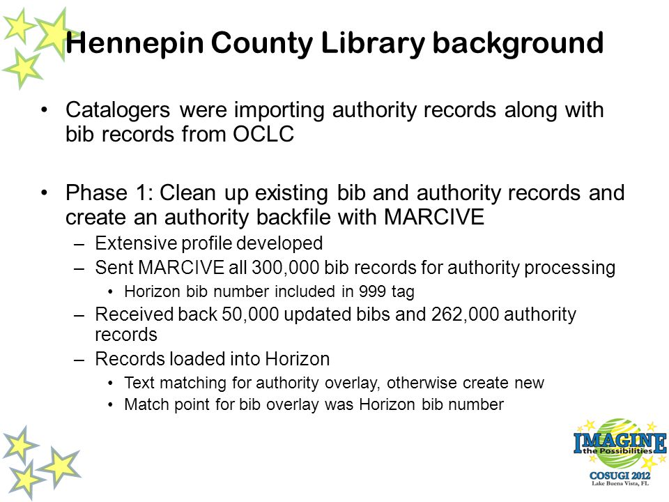 Catalogers were importing authority records along with bib records from OCLC Phase 1: Clean up existing bib and authority records and create an authority backfile with MARCIVE –Extensive profile developed –Sent MARCIVE all 300,000 bib records for authority processing Horizon bib number included in 999 tag –Received back 50,000 updated bibs and 262,000 authority records –Records loaded into Horizon Text matching for authority overlay, otherwise create new Match point for bib overlay was Horizon bib number Hennepin County Library background