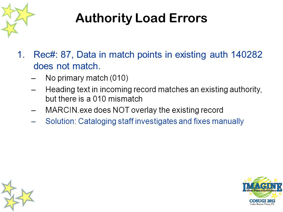 Authority Load Errors 1.Rec#: 87, Data in match points in existing auth 140282 does not match.