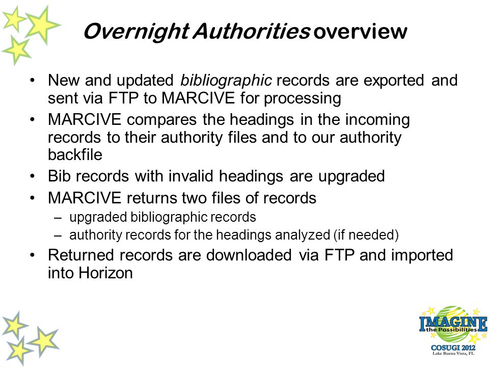 Overnight Authorities overview New and updated bibliographic records are exported and sent via FTP to MARCIVE for processing MARCIVE compares the headings in the incoming records to their authority files and to our authority backfile Bib records with invalid headings are upgraded MARCIVE returns two files of records –upgraded bibliographic records –authority records for the headings analyzed (if needed) Returned records are downloaded via FTP and imported into Horizon