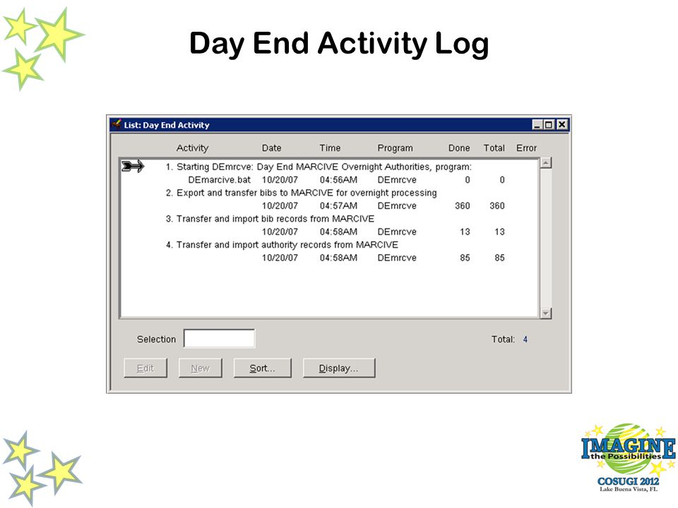 Day End Activity Log