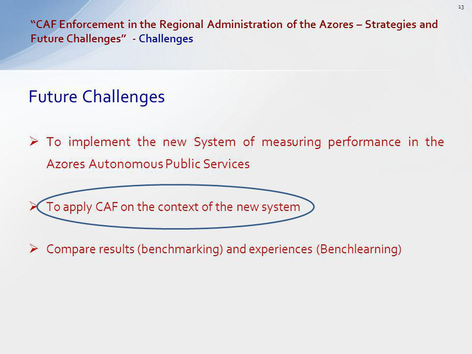 Future Challenges To implement the new System of measuring performance in the Azores Autonomous Public Services To apply CAF on the context of the new