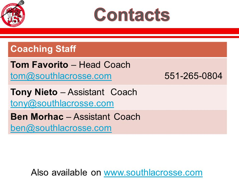 Also available on www.southlacrosse.comwww.southlacrosse.com Coaching Staff Tom Favorito – Head Coach tom@southlacrosse.com 551-265-0804 tom@southlacrosse.com Tony Nieto – Assistant Coach tony@southlacrosse.com Ben Morhac – Assistant Coach ben@southlacrosse.com