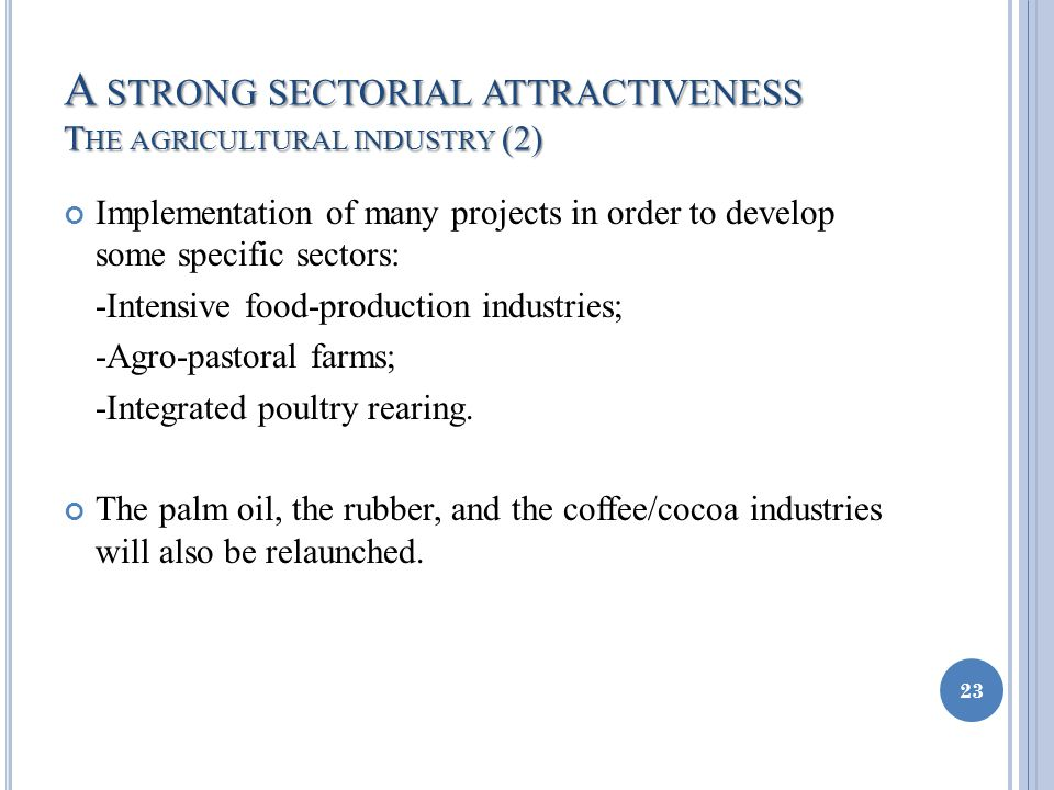 A STRONG SECTORIAL ATTRACTIVENESS T HE AGRICULTURAL INDUSTRY (2) Implementation of many projects in order to develop some specific sectors: -Intensive food-production industries; -Agro-pastoral farms; -Integrated poultry rearing.