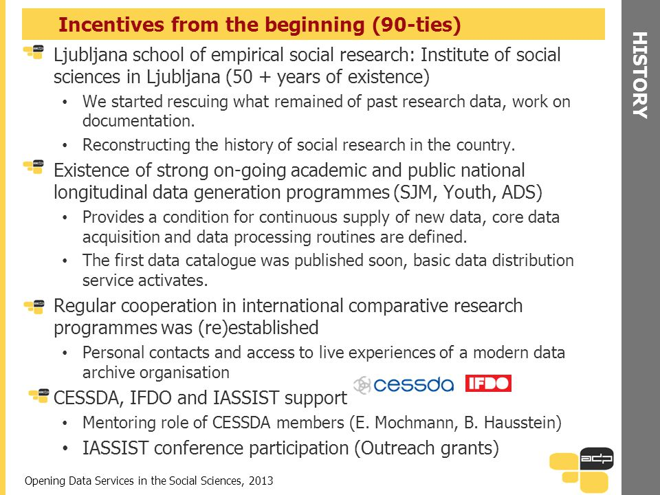 HISTORY Incentives from the beginning (90-ties) Ljubljana school of empirical social research: Institute of social sciences in Ljubljana (50 + years o