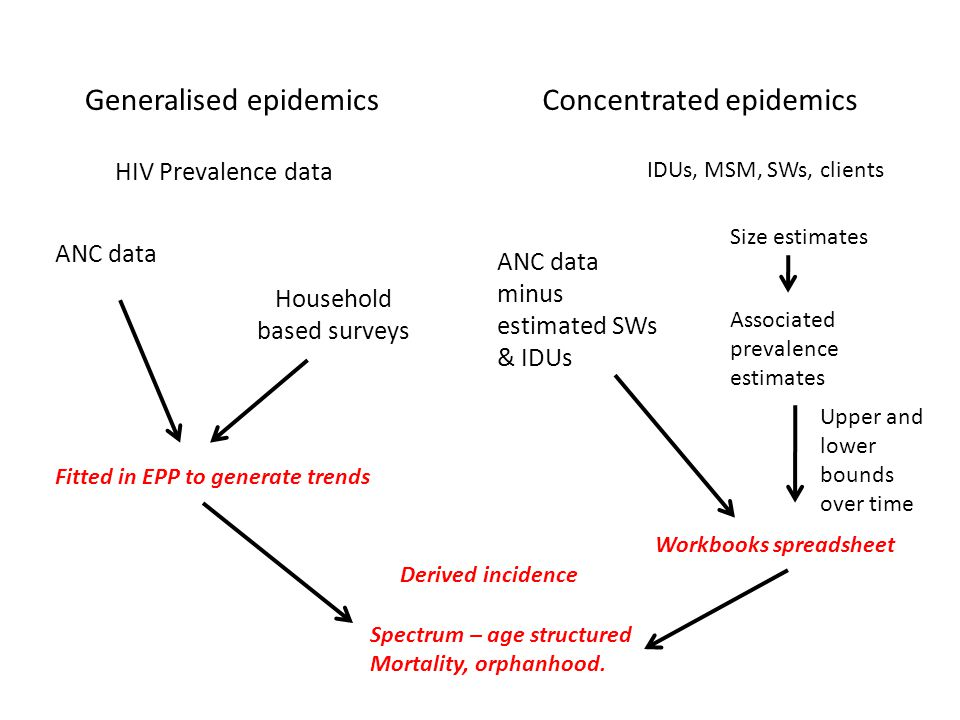 HIV Prevalence data Generalised epidemics ANC data Household based surveys Fitted in EPP to generate trends Derived incidence Spectrum – age structured Mortality, orphanhood.