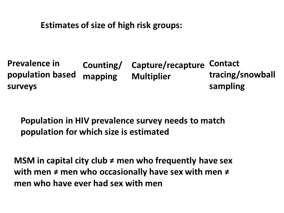 Estimates of size of high risk groups: Counting/ mapping Capture/recapture Multiplier Contact tracing/snowball sampling Population in HIV prevalence survey needs to match population for which size is estimated Prevalence in population based surveys MSM in capital city club men who frequently have sex with men men who occasionally have sex with men men who have ever had sex with men