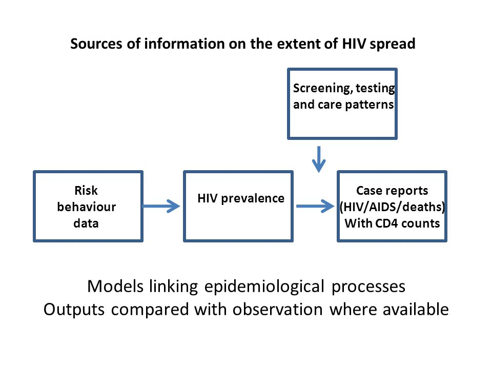 Sources of information on the extent of HIV spread HIV prevalence Case reports (HIV/AIDS/deaths) With CD4 counts Risk behaviour data Models linking epidemiological processes Outputs compared with observation where available Screening, testing and care patterns