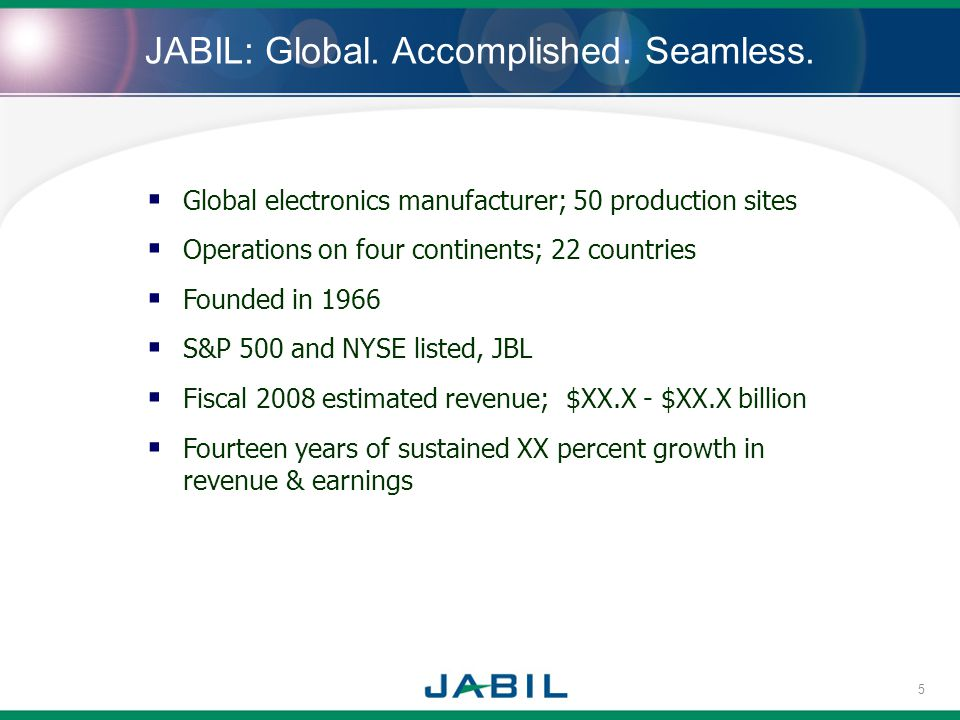 JABIL: Global. Accomplished. Seamless. Global electronics manufacturer; 50 production sites Operations on four continents; 22 countries Founded in 196