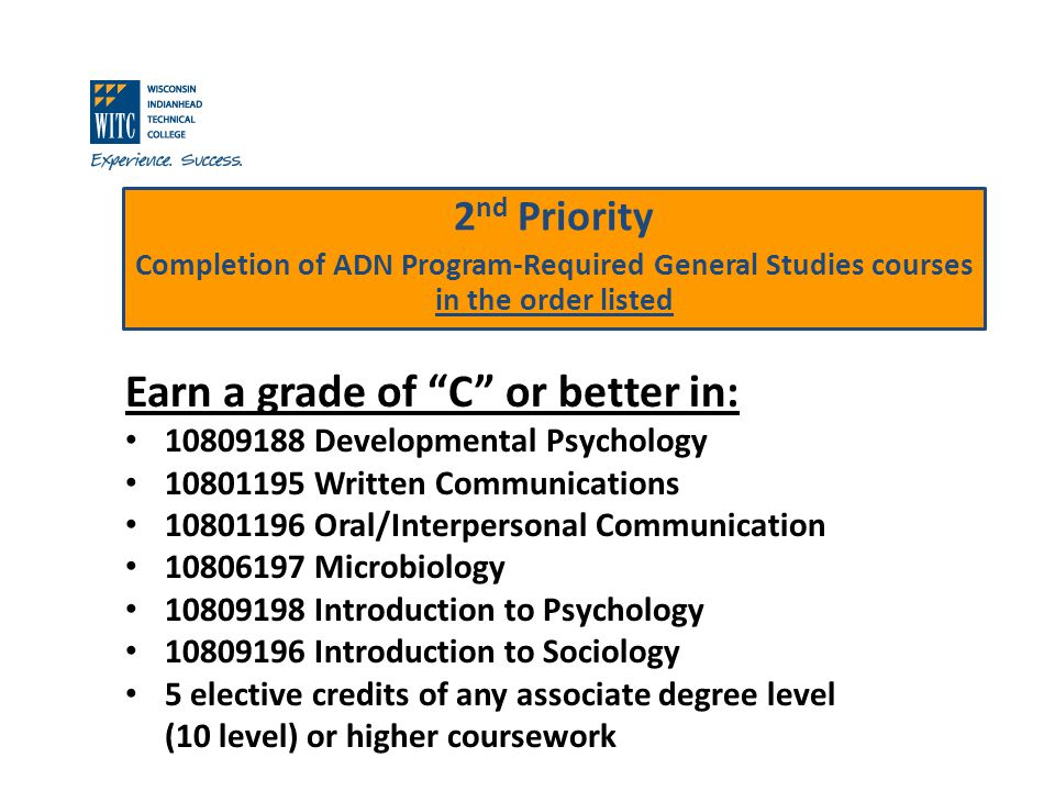 2 nd Priority Completion of ADN Program-Required General Studies courses in the order listed Earn a grade of C or better in: 10809188 Developmental Psychology 10801195 Written Communications 10801196 Oral/Interpersonal Communication 10806197 Microbiology 10809198 Introduction to Psychology 10809196 Introduction to Sociology 5 elective credits of any associate degree level (10 level) or higher coursework