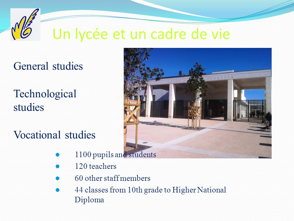 Un lycée et un cadre de vie General studies Technological studies Vocational studies 1100 pupils and students 120 teachers 60 other staff members 44 classes from 10th grade to Higher National Diploma