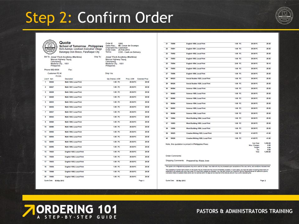 Step 2: Confirm Order