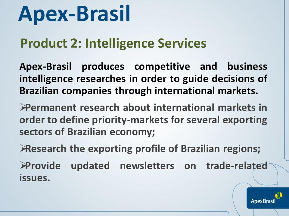Product 2: Intelligence Services Apex-Brasil produces competitive and business intelligence researches in order to guide decisions of Brazilian compan