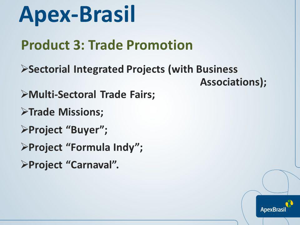 Product 3: Trade Promotion Sectorial Integrated Projects (with Business Associations); Multi-Sectoral Trade Fairs; Trade Missions; Project Buyer; Proj