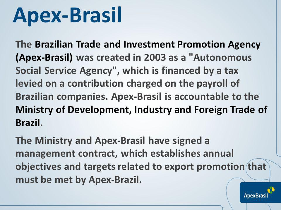 Apex-Brasil in figures (2011): 977 events, among them: 321 participation in international trade fairs; 140 Buyer projects; 64 Vendor projects; 121 Capacity Building Projects; 91 Image projects; 98 Prospective & Trade missions.