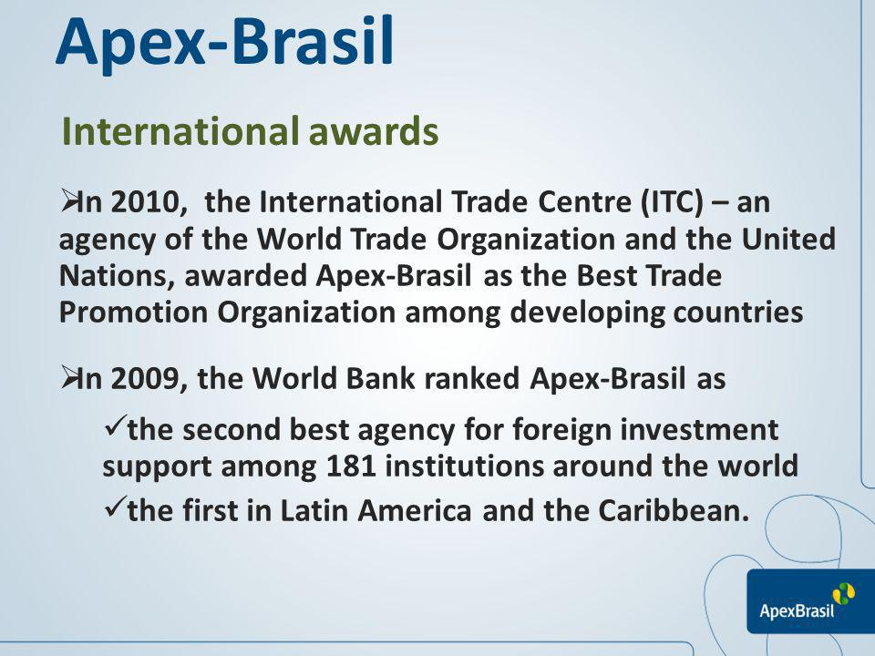 International awards In 2010, the International Trade Centre (ITC) – an agency of the World Trade Organization and the United Nations, awarded Apex-Br
