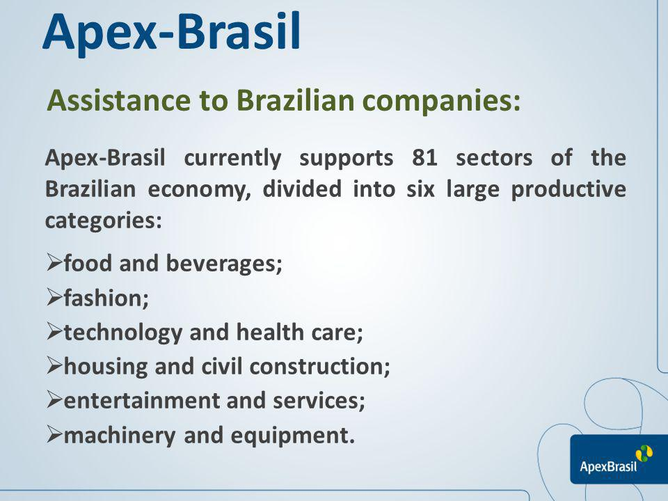 Assistance to Brazilian companies: Apex-Brasil Apex-Brasil currently supports 81 sectors of the Brazilian economy, divided into six large productive c
