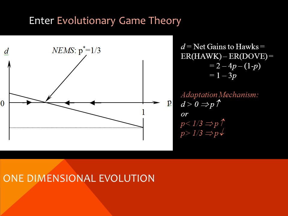 Enter Evolutionary Game Theory d = Net Gains to Hawks = ER(HAWK) – ER(DOVE) = = 2 – 4p – (1-p) = 1 – 3p Adaptation Mechanism: d > 0 p or p< 1/3 p p> 1/3 p ONE DIMENSIONAL EVOLUTION