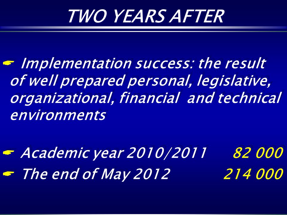 Implementation success: the result of well prepared personal, legislative, organizational, financial and technical environments Academic year 2010/201