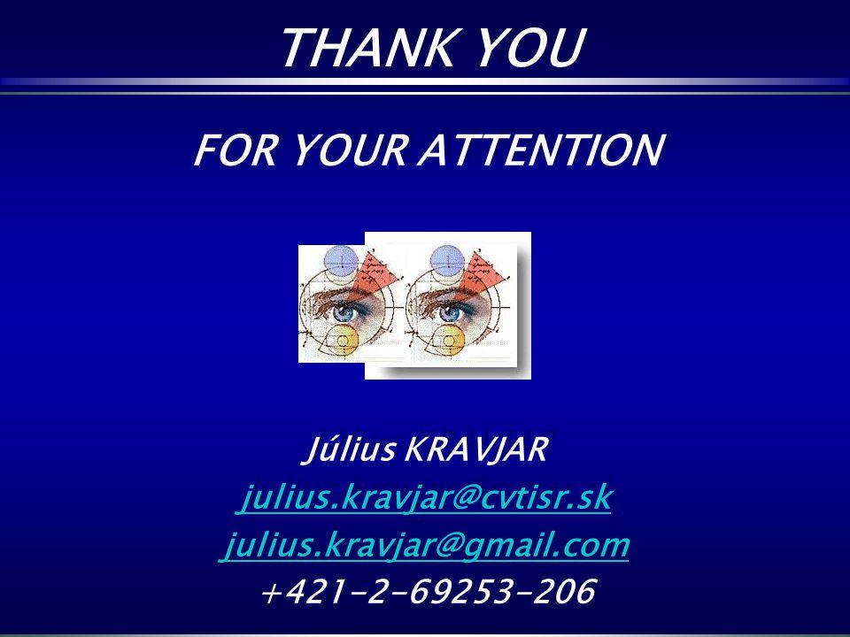FOR YOUR ATTENTION Július KRAVJAR julius.kravjar@cvtisr.sk julius.kravjar@gmail.com +421-2-69253-206 FOR YOUR ATTENTION Július KRAVJAR julius.kravjar@