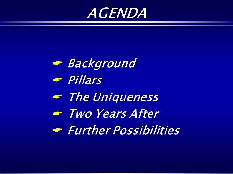 AGENDA Background Pillars The Uniqueness Two Years After Further Possibilities Background Pillars The Uniqueness Two Years After Further Possibilities