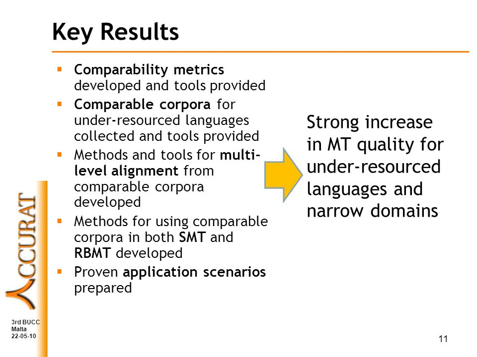 Key Results Comparability metrics developed and tools provided Comparable corpora for under-resourced languages collected and tools provided Methods and tools for multi- level alignment from comparable corpora developed Methods for using comparable corpora in both SMT and RBMT developed Proven application scenarios prepared Strong increase in MT quality for under-resourced languages and narrow domains 11 3rd BUCC Malta 22-05-10