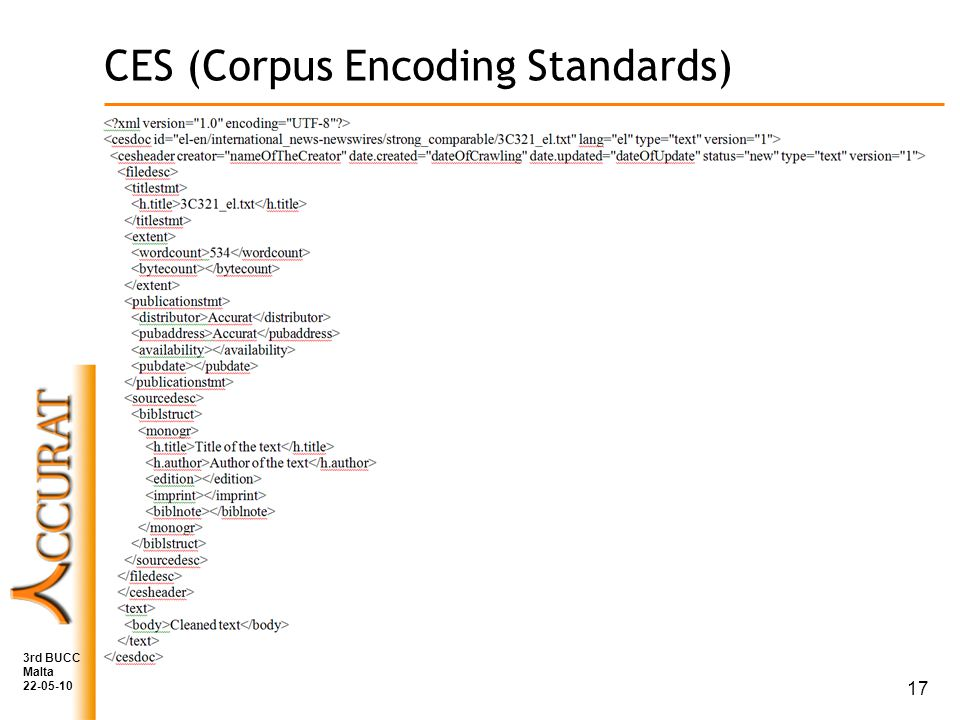 CES (Corpus Encoding Standards) 3rd BUCC Malta 22-05-10 17