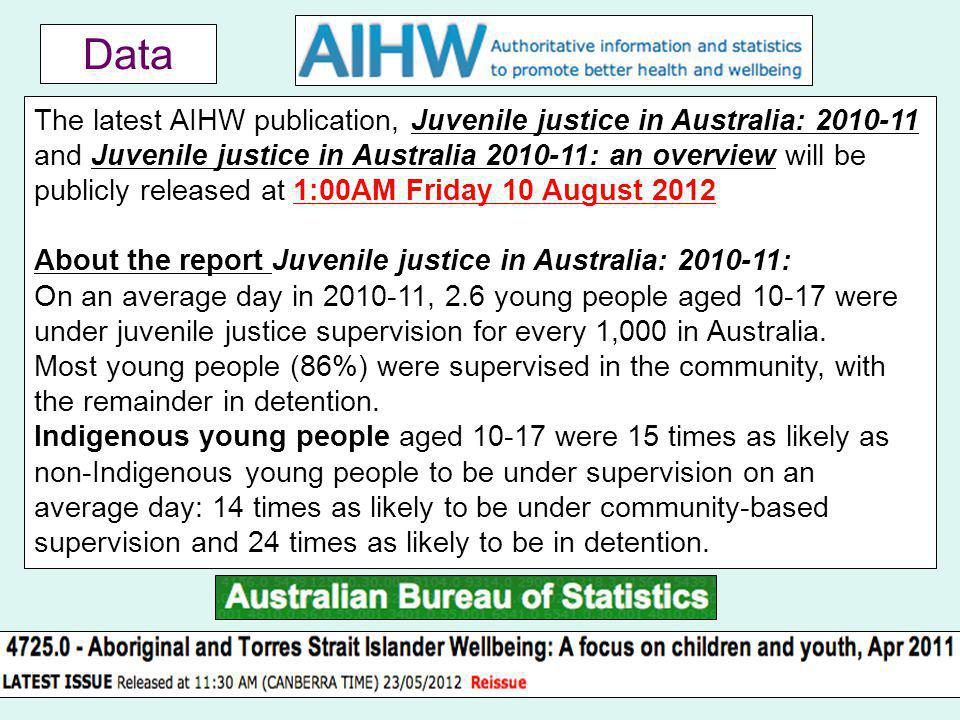 Data 23 The latest AIHW publication, Juvenile justice in Australia: 2010-11 and Juvenile justice in Australia 2010-11: an overview will be publicly released at 1:00AM Friday 10 August 2012 About the report Juvenile justice in Australia: 2010-11: On an average day in 2010-11, 2.6 young people aged 10-17 were under juvenile justice supervision for every 1,000 in Australia.