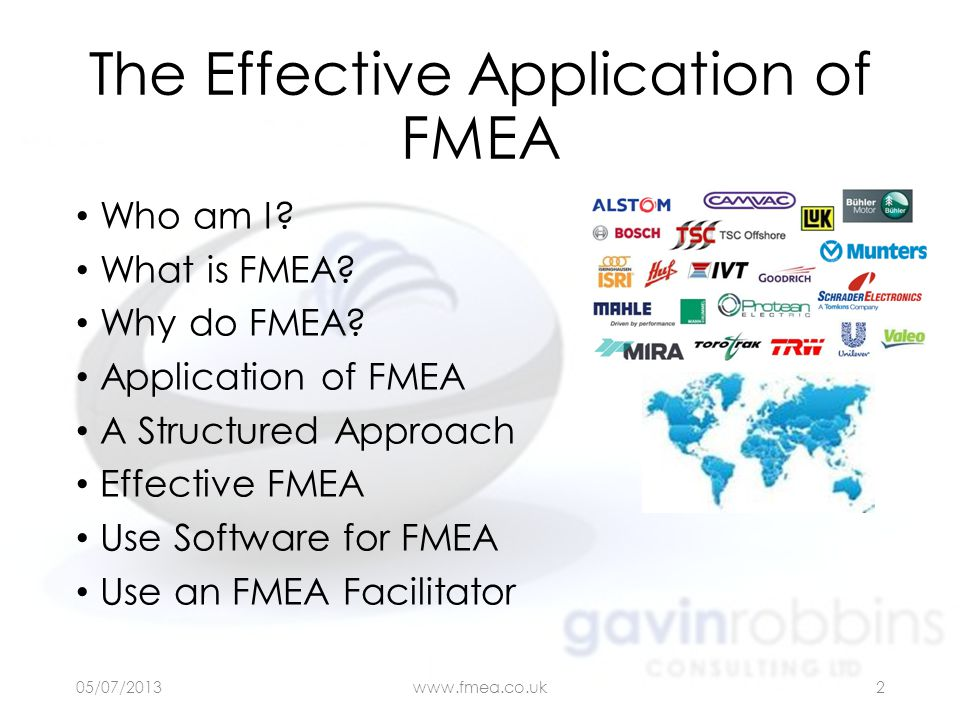 The Effective Application of FMEA Who am I? What is FMEA? Why do FMEA? Application of FMEA A Structured Approach Effective FMEA Use Software for FMEA