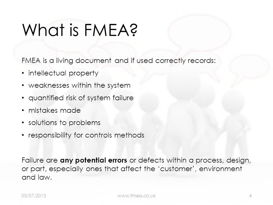 What is FMEA? FMEA is a living document and if used correctly records: intellectual property weaknesses within the system quantified risk of system fa