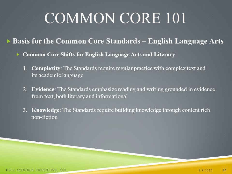 Basis for the Common Core Standards – English Language Arts Common Core Shifts for English Language Arts and Literacy 1.