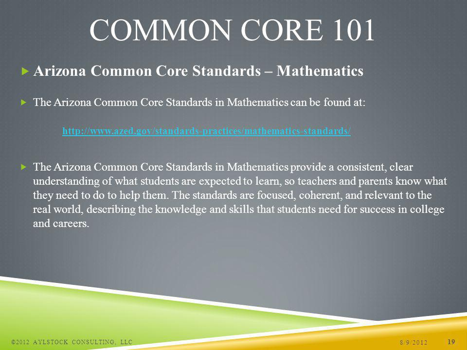 Arizona Common Core Standards – Mathematics The Arizona Common Core Standards in Mathematics can be found at: http://www.azed.gov/standards-practices/mathematics-standards/ The Arizona Common Core Standards in Mathematics provide a consistent, clear understanding of what students are expected to learn, so teachers and parents know what they need to do to help them.