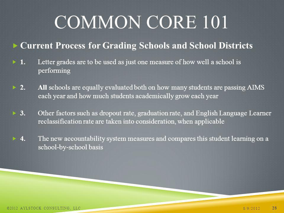 Current Process for Grading Schools and School Districts 1.Letter grades are to be used as just one measure of how well a school is performing 2.All schools are equally evaluated both on how many students are passing AIMS each year and how much students academically grow each year 3.Other factors such as dropout rate, graduation rate, and English Language Learner reclassification rate are taken into consideration, when applicable 4.The new accountability system measures and compares this student learning on a school-by-school basis 8/9/2012 ©2012 AYLSTOCK CONSULTING, LLC 28 COMMON CORE 101