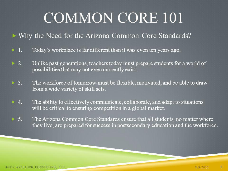 Arizona Common Core Standards – English Language Arts 8/9/2012 ©2012 AYLSTOCK CONSULTING, LLC 16 COMMON CORE 101 Cluster Breakdown of Reading Standards Literature Key Ideas and Details Craft and Structure Integration of Knowledge and Ideas Range of Reading and Level of Text Complexity Informational Text Key Ideas and Details Craft and Structure Integration of Knowledge and Ideas Range of Reading and Level of Text Complexity Foundational Skills Print Concepts Phonological Awareness Phonics and Word Recognition Fluency Cluster Breakdown of Writing Standards Text Types and Purpose Production and Distribution of Writing Research to Build and Present Knowledge Range of Writing Cluster Breakdown for Speaking and Listening Standards Comprehension and Collaboration Presentation of Knowledge and Ideas Cluster Breakdown for Language Standards Conventions of Standard English Knowledge of Language Vocabulary Acquisition and Use