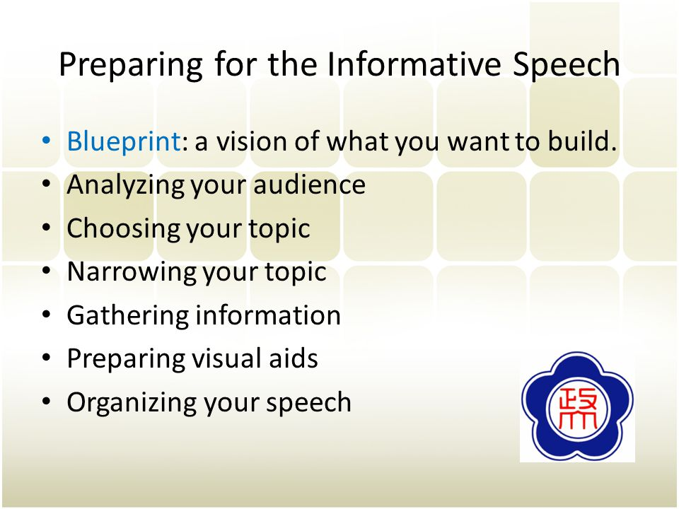Preparing for the Informative Speech Blueprint: a vision of what you want to build.